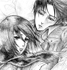 Rivaille (Levi) x Mikasa Ackerman. I just love Levi's expression while looking at Mikasa