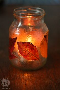 autumn decoration : leaf glow jar | artsy ants