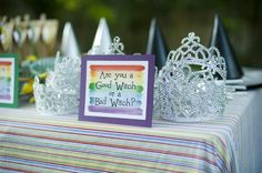 What a great idea! Let the girls decide if they want to be a good or bad witch.  Click the pin for other fun Wizard of Oz themed party ideas from our Mommy & Me Tab!