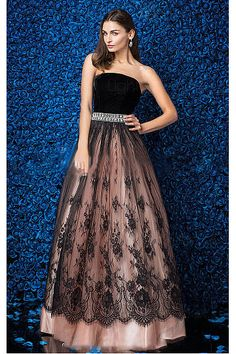 Exquisite Satin Floor-length Natural Strapless Zipper Evening Dresses