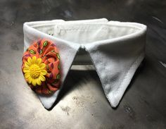 White Shirt Style Dog Collar with Yoyo Detail and Sunflower or Gem Button Center - Pet Collar by Kikiworks on Etsy https://www.etsy.com/au/listing/289835865/white-shirt-style-dog-collar-with-yoyo