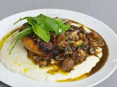 Mario Batali's Chicken Saltimbocca with Arugula & Creamy Cauliflower Fondue - http://www.mariobatali.com/recipes/chicken-saltimbocca/