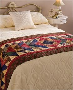 Quilting - Bed Quilt Patterns - Pieced Quilt Patterns - Turnabout Is Fair Play Bed Runner Pattern Bed Runner, Quilted Table Toppers, Quilted Table Runners, Mini Quilts, Small Quilts, Bed Quilt Patterns, Play Beds, Bed Scarf, Bed Table