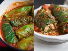 Vegan Rice and Lentil Stuffed Cabbage Rolls with Tomato Sauce