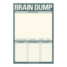 Knock Knock Brain Dump Pad is a perfect brainstorm note-taking tool. Fun and quirky gift ideas for work. Knock Knock Pads are fun executive gifts. Planner Pages, Printable Planner, Goals Printable, Free Printables, Journal Prompts, Writing Prompts, Planners, Bujo, Handwritten Text