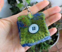 Felt keyring purse , purse - keyring pendant, felt pendant, hand sewed bag - key ring, OOAK, unique keyring, Hand-made felted purse by boele on Etsy