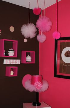 Tulle pom poms...great way to decorate a room, birthday party, bridal shower, baby shower, or wedding.
