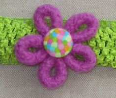 Headband Felt Flower with Confetti Button Pink and by Blossomshkd, $11.00