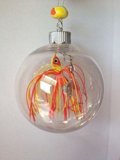 This Personalized Christmas Ornament with real Fishing Lure and two personalized...