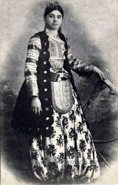Woman from Shkodra (Albania) in traditional festive costume.  Ca. 1900.