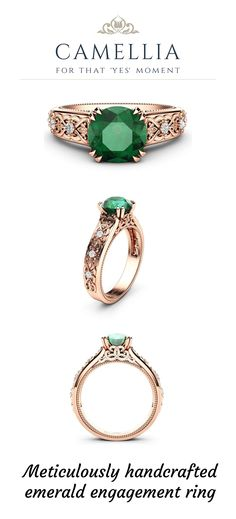This magnificent engagement ring is made from solid rose gold. A large 1 Ct. natural emerald adorns the top as a trellis of round diamonds cascade downwards from either side. Vintage Style Engagement Rings, Floral Engagement Ring, Beautiful Engagement Rings, Beautiful Rings, Bridal Ring Sets, Gold Rings, Gemstone Rings, Natural Emerald, Trellis