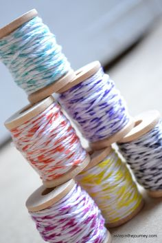 I've been wanting some baker's twine but the price was way too high.  Now I can make my own!  Quick, easy, and fun!