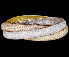 Cartier diamond & tri-color gold bracelet