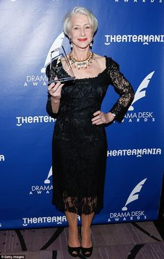 Success: Helen Mirren was the queen of the night when she attended the annual Drama Desk Awards in New York City on Sunday, where she was namedOutstanding Actress in a Play
