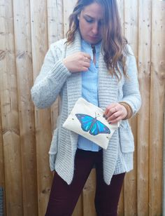 Shop for on Etsy, the place to express your creativity through the buying and selling of handmade and vintage goods. Blue Butterfly, Zipper Bags, Pouches, My Etsy Shop, Halloween, Makeup, Check, Creative, How To Make