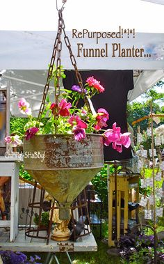 Funnel planter with patina