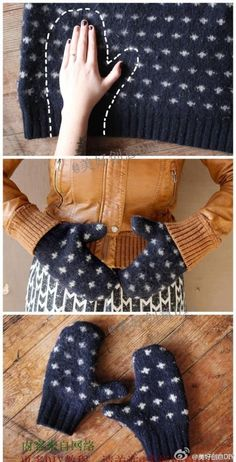 Christmas-Craft ideas-DIY how to make mittens out of an old sweater_diy & crafts.
