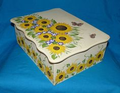 Custom Wedding Card Box Hand Painted Sunflower by HillsideBees