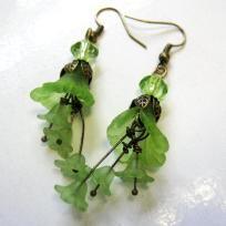 Antique Bronze, Emerald Green Lucite Calla Lily Flower Chandelier Earrings