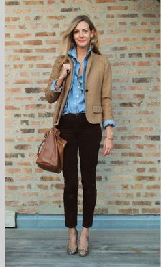 Love denim shirts with dark washed skinny jeans. The camel colored blazer really sets it off. #FixedOnFall