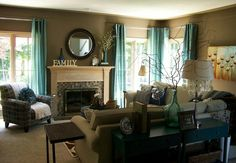 Beautiful Awesome Living Room With Green Accents, Green Accents In A Brown Living Room