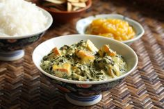 Typically this Indian dish, Saag Paneer, is made with spinach or mustard greens. Using kale instead of spinach allows the greens to have more texture in this rich and creamy vegetable dish.