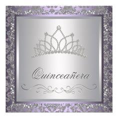 Diamond Tiara Purple Quinceanera Invite
