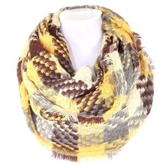 """B87 Plaid Mustard Brown Soft Infinity Scarf $84 Woven Infinity Scarf  Retail $84     ONE OF THE MOST AMAZING SCARVES!!!!  This scarf is soooo soft & luxurious, you will never want to take it off. 100% acrylic.  This is a beautiful & luxurious scarf.  Dress up any outfit day or night. Please check my closet for many more items!!  ‼️ PRICE FIRM UNLESS BUNDLED WITH OTHER ITEMS FROM MY CLOSET ‼️   Length 34""""  Width 24"""" Boutique Accessories Scarves & Wraps"""