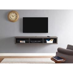 Shallow Wall Mounted TV Stand for TVs up to 60 By Martin Home Furnishings Wall Mounted Media Console, Media Shelf, Media Wall, Media Storage, Wall Mount Tv Stand, Wall Mount Tv Shelf, Tv Wall Shelves, Wall Tv, Storage Shelves