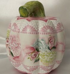 Hand Painted Pumpkin Cottage Chic Pink Roses Hydrangea Shabby Lace HP Ceramic