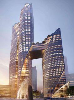 Future Buildings, Unique Buildings, Amazing Buildings, Office Buildings, Modern Architecture Design, Futuristic Architecture, Beautiful Architecture, Arch Architecture, Chinese Architecture