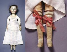 Lady Clapham doll and her garters, unknown maker, 1690-1700