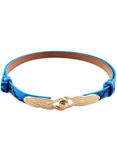 Blue Snakeskin Metal Belt - Sheinside.com