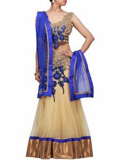 Cream color bridal lehenga choli online – Panache Haute Couture http://panachehautecouture.co.in/collections/lehenga-choli-online-shopping/products/cream-color-bridal-lehenga-choli-online