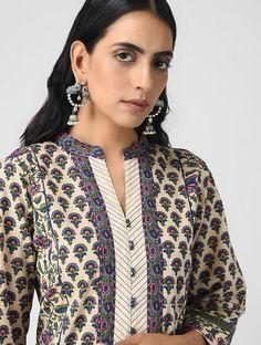 Ivory-Blue Printed Cotton Kurta - All About Printed Kurti Designs, Silk Kurti Designs, Salwar Neck Designs, Kurta Neck Design, Neck Designs For Suits, Sleeves Designs For Dresses, Neckline Designs, Kurta Designs Women, Dress Neck Designs