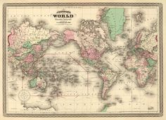 Antique map - World wall map - Vintage  world map print - 21 x 29   (large format) via Etsy
