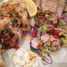 Grilled baby chicken with fattoush, yoghurt sauce and rose Harissa - recipe by Gizzi Erskine