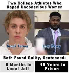 Two College Athletes. Each were caught and found guilty of raping an unconscious woman which calls for a minumum 15 year sentence. Brock Turner received 6 months in local jail and will probably get out in 3 months while Cory Batey must serve the minimum 15 years in prison. And the rhetorical question is; Why didn't these men receive the same sentence? What could possibly be the difference between them...? http://www.nydailynews.com/news/national/king-brock-turner-cory-batey-show-race-affects