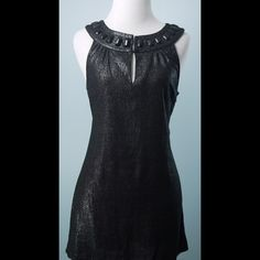 JOIE Silver Black Sleeveless Bead Tunic Top S JOIE Silver Black Sleeveless Beaded Neckline Tunic Top Size Small Joie Tops Tunics