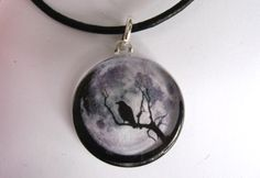 Raven /Crow Full Moon Pendant Necklace w/ by CapturedStarlight,