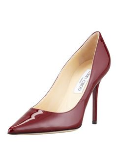 Abel+Patent+Point-Toe+Pump,+Claret+by+Jimmy+Choo+at+Bergdorf+Goodman.