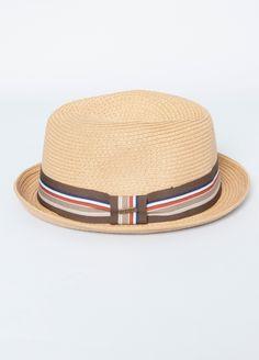Multi Stripe Straw Fedora - Men's Hat