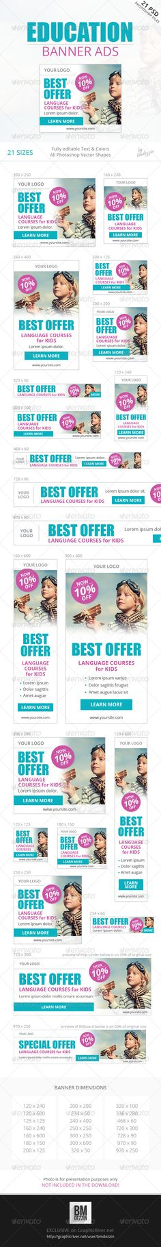 Education Banner Ads Template PSD | Buy and Download: http://graphicriver.net/item/education-banner-ads/8636938?WT.ac=category_thumb&WT.z_author=bmdezzin&ref=ksioks