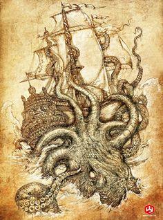 Kraken Unleashed by PaperCutIllustration.new ink idea Mythological Creatures, Mythical Creatures, Le Kraken, Kraken Art, Kraken Tattoo, Release The Kraken, Wicked Tattoos, Octopus Art, Octopus Tattoos