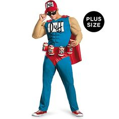 The Simpsons - Duffman Classic Muscle Adult Costume Description: Oh yeah! Become the cool and charismatic Duff Beer mascot in The Simpsons - Duffman Classic Muscle Adult Costume wh Simpsons Costumes, Funny Costumes, Adult Costumes, Simpsons Halloween, Men's Costumes, Cartoon Costumes, Female Costumes, Awesome Costumes, Mermaid Costumes