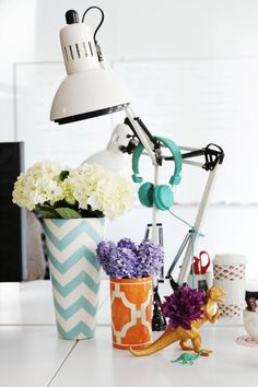 Source: Cupcake and Cashmere blog #bedroom #desk #lamp #flowers