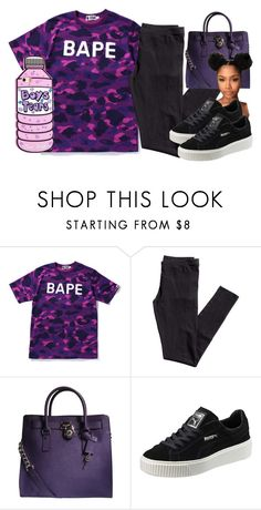 """""""Hanging Halfway Off The Balcony 😈"""" by httpsydney ❤ liked on Polyvore featuring A BATHING APE, H&M, Michael Kors and Puma"""
