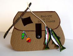 I had a lot of fun creating these masculine fishing basket cards. Once again coloring pages came to my rescue in the absence of fish. Mens Valentines Gifts, Birthday Cards For Men, Diy Birthday, Birthday Gifts, Diy For Men, Cricut Cards, Fishing Gifts, Fathers Day Cards, Masculine Cards