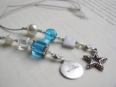 Beaded Bookmark Wish Upon a STAR Jeweled Book Thong - Blue Turquoise Glass, Silver, and Pearl with Silver WIsh Charms