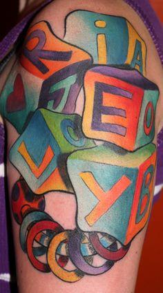 baby blocks cute girlie tattoo color tattoo kristel oreto tattoo artist
